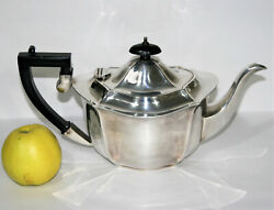 Antique Queen Anne Style Teapot Harrison Fisher Silver Plated - Bakelite Handles