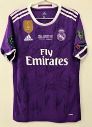 Jersey Real Madrid Final Champions 2016 / 2017 9 Benzema Autographed By Players