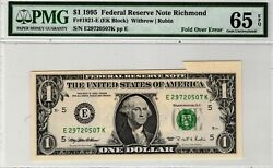 1995 1 Richmond Federal Reserve Note Fold Over Error Pmg Ms65 Epq Gorgeous