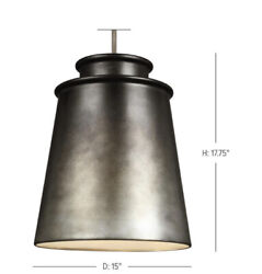 Feiss Fiona Vintage 3 Light Pendant 225 Watts In Oil Can Grey