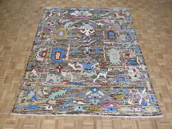 8 X 9'9 Hand Knotted Chocolate Brown Colorful Oushak Oriental Rug G10908