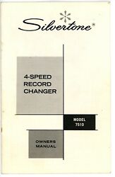 Sears Silvertone 4 Speed Record Changer Player Owners Manual Model 7510 -m1