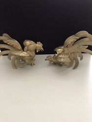 Vintage Bantam Brass Rooster Fighting Cocks Chickens Figurines Med. Statues