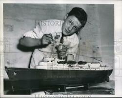 1957 Press Photo 14 Year Old John Dennys Finishes Up Four Foot Model Of Yacht