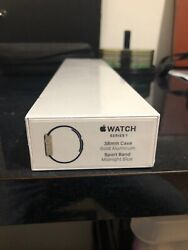 Apple Watch Series 1 38mm Gold Aluminum Case Midnight Blue Sport Band Sealed