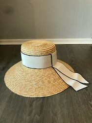 Eugenia Kim Annabelle 100 Woven Straw Sun Hat W/ Grosgrain Band - Made In Italy