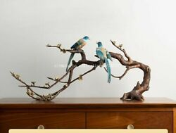 30and039and039 Bronze Crafts Home Furniture Decoration Beautiful Plum Blossom Branch Birds