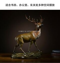 22and039and039 Bronze Crafts Home Feng Shui Decorate Fortune Animal Deer Statue