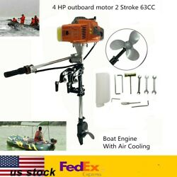 2 Stroke 4hp Outboard Engine 63cc Motor Boat Fishing Engine Air Cooling System