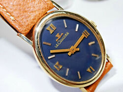 Large 39mm Oval Lecoultre 14k Gold Manual Wind Collectible Watch Royal Blue Dial