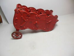 Overland Band Red Antique Cast Iron Horse Drawn Circus Wagon Solid Sides Harp