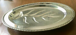 Footed Silverplated Oval Meat Serving Tray Channeled Platter Rogers And Bro 1710