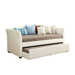 Saltoro Sherpi Faux Leather Upholstered Wooden Platform Daybed With Trundle