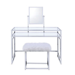 Saltoro Sherpi Glass And Metal Vanity Set With Faux Fur Stool White And Silver