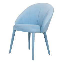 Saltoro Sherpi Fabric Upholstered Wooden Dining Chair With Curved Back Blue