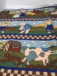 Vintage 1990s Blue Pig Fabric Border Design Country Farm Quilting Cotton F26