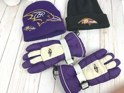 Nfl Baltimore Ravens Two Beanie Winter Hats And Mens Medium Gloves Bundle - Flaw