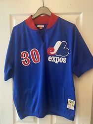 """Tim Raines Montreal Expos 1988 Mitchell Ness Xl Bp Pullover """" One Of A Kind"""""""