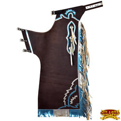 Hilason Bull Riding Pro Rodeo Chaps Brown Smooth Leather Bronc Show Adult U-h147
