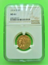 1914-d Indian 5 Gold Half Eagle Ngc Ms61 Lustrous Gold Coin Brilliant Mint
