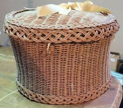 Vintage Corset Flare Braided Rim Bow Topped Woven Wicker Sewing Vanity Basket