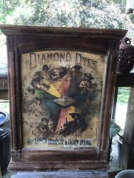 """Vtg C. 1890 Diamond Dyes """" Evolution Of Woman"""" Country Store Dye Cabinet"""