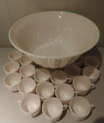 Vintage Jeanette Feather Pattern Pink Milk Glass Punchbowl, Base And 22 Cups