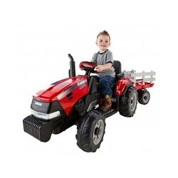 Kids Farm Tractor Ride On 12v Battery Powered Vehicle W/trailer Electric Car Toy