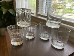 Vintage Set Of Crown Royal Drinking Glasses, Rocks Highball Cocktail, Italy