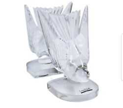 New Sealed In Box Pair Lalique Hirondelles Swallow Bookends Crystal Wedding Gift