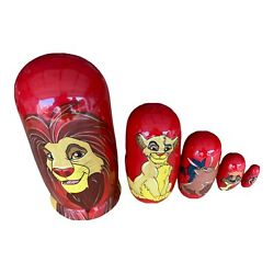Rare Disney Lion King Hand Painted 10 Wooden Russian Nesting Dolls