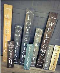 Farmhouse Welcome Custom Sign Door, Porch, Asst Size Colors Vertical Sign