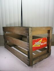 Vintage Tri Quality Melons Wooden Fruit Crate 1960'sgreat For Storage Records