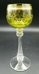 Antique Moser Czech Glass Wine Goblet- Green And Gold Etched, Clear Stems 7 H