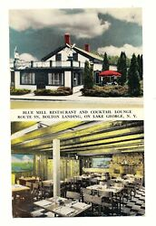 Vintage Post Card Blue Mill Restaurant And Cocktail Lounge Bolton Landing Lake Geo