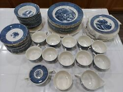 Vintage Currier And Ives Royal China Set Of 58 Pieces