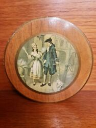 Vintage Gentleman ,dog Dalmatian And Street Seller Tin Lined Round Wooden Box