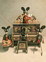 1931 Marx Merry Makers Litho Mouse Band Windup Toy With Marquee And Box -works
