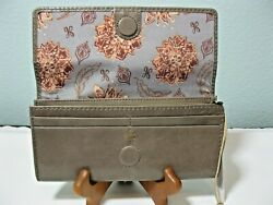 """NWT HOBO INTERNATIONAL """"RIDER"""" LEATHER WALLET COLOR: GRAVEL $65.00"""