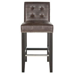 Safavieh Cushioned Bar Stool 24-27 In. Counter Height High Back Antique Brown