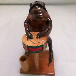 Taxidermy Frog New Real Frog Playing Drum In Band Man Cave Bullfrog D1