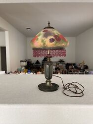 Antique Hand Painting Floral Rose Daisy Reverse Painted Glass Table Lamp Signed