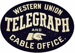 Western Union Telegraph Cable Office 20 Heavy Duty Usa Made Metal Oval Adv Sign