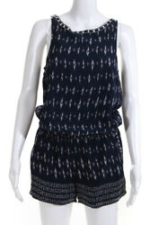 Joie Womens Silk Sleeveless Boat Neck Printed Romper Blue Size Small