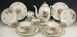 18 Pcs Nymphenburg Hand Painted Floral Tea Coffee Set Tray Plates Cups And Saucers