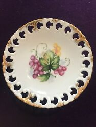 Vintage Hand Painted Gold Accented Lefton China Candy Dish On A Pedestal- Grapes
