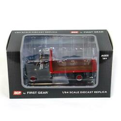 1/64 Black Chevy C65 Single Axle Truck W/ Red Flatbed Dcp By First Gear 60-0924