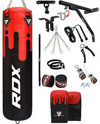 Rdx Punching Bag Unfilled Set Kick Boxing Heavy Mma Training With Gloves 4ft/5ft