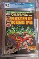 Special Marvel Edition 15 Cgc 9.2 Master Of Kung Fu First Appearance Shang Chi