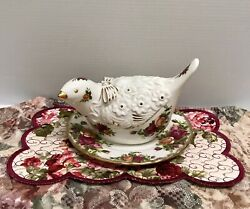 ❤rare Royal Doulton Old Country Roses Pomander Dove Bird Figurine W/ Under Plate